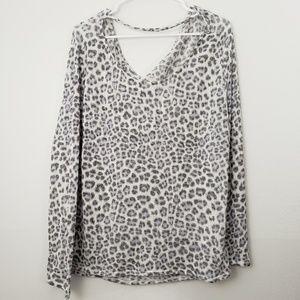 Divided Animal Print Oversized Long Sleeve Blouse